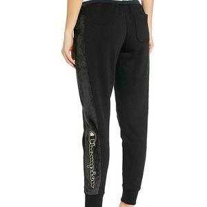Champion Black Faux Fur Sweatpants, Gold Logo